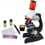 XRKJ 100x 400x 1200x Magnification Refined Scientific Instruments Beginner Microscope Kit Includes Accessory Toy Set for Girls Boys Early Education