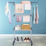 Innotic Clothes Drying Rack 3 Tier Collapsible Rolling Stainless Laundry Dryer Hanger with Casters for Indoor