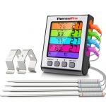 ThermoPro TP17H Digital Meat Thermometer Kitchen Cooking Thermometer with 4 Temperature Probes for Oven Grill Cooking BBQ Thermometer with Backlight
