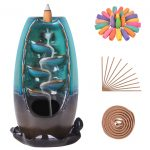 SOLEJAZZ Backflow Incense Burner 5-in-1 Waterfall Ceramic Incense Holder with 120 Incense Cones + 30 Incense Sticks for Home Office Yoga Aromatcherapy Ornamen