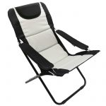 Homecall Folding camping chair with 600D polyester sponge padded black creamy-white backrest adjustable