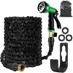 HOMOZE Garden Hose Expandable Hose Pipe 50FT Flexible and Expanding Garden Water Hosepipe with Brass Fittings/8 Function Spray Nozzle/Hose Hanger-for Garden