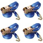 4 x 800 kg 5m Ratchet Tie Down Straps Lashing Straps with J-Hooks Tensioning Belt 25 mm 4 Pieces Set Adjustable Ratchet Straps for Lawn Equipment Moving Appliances Motorcycle SUP Kayak Luggage
