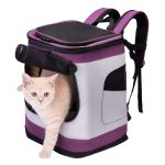 HAPPY HACHI Dog Carrier Backpack Waterproof Puppy Cat Rucksack Pet Soft Sided Padded Travel Bag Airline Approved with Top Open Breathable Mesh and Waist Strap (Purple)