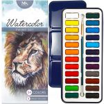 Watercolour Paint Essential Set – 24 Vibrant Colours – Lightweight and Portable – Perfect for Budding Hobbyists and Professional Artists – Paint Brush Included – MozArt Supplies