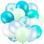 Hsei 60 Pieces Winter Ice Snow Turquoise Teal Balloons Confetti Balloons Mint Green Balloons for Baby Shower Wedding Office Birthday Party Supplies