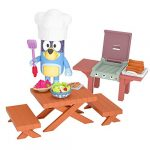 Bluey Dad Bandit's Backyard BBQ Play Set Official Collectable 2.5 Inch Bandit Action Figure Mini Playset Including 2 Benches