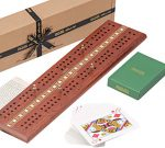 Jaques of London Cribbage Board Cribbage Set with Premium Cards and Metal Pegs