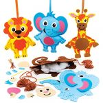 Baker Ross FE609 Jungle Animal Sewing Decoration Kits - Pack of 4