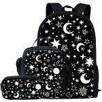 Showudesigns School Bags for Girls Galaxy Set Lunch Box Pencil Case Star Prints Canvas Primary School Backpack with Crossbody Bag Boys Kids Gifts 3 pcs Black