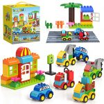 burgkidz Big Building Blocks - 141 Pieces Large Size Creative Bricks Toy Cars Set with Road Baseplate - 6 Different Model Vehicles