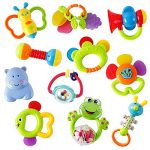 WISHTIME Rattle Teether Set Baby Toy - Sensory Baby Toy 0-12 Months Shaker Grab Rattle Baby Infant Newborn Toys Early Educational Toys for 3 6 9 12 Month Boys Girls