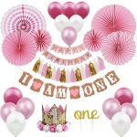 1st BIRTHDAY DECORATIONS for Girl - Baby First Birthday Party Pink Kit Set