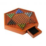 Yuxinkang Wooden Checkers - Chinese Checkers Board Game Set with Storage Drawer