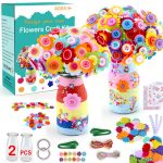 Flower Craft Kit for Kids Make Your Own Flower Bouquet with Buttons and Felt Flowers