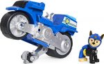 PAW Patrol Moto Pups Chase's Deluxe Pull Back Motorcycle Vehicle with Wheelie Feature and Figure