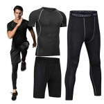 Boomcool Men Fitness Workout Clothing Gym Running Compression Pants Shirt Top Long Sleeve Jacket Set