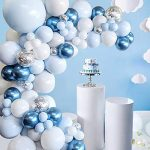 Blue Balloons Garland Arch Kit - 104Pcs Macaron Blue White Silver Balloon arch kit Decorations Set with Confetti Balloons pack for Boys and Girls Baby Shower