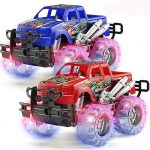 2 Pack Light Up Monster Truck Car Toy with Beautiful Flashing LED Tires
