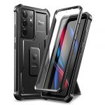Dexnor Case for Samsung Galaxy S21 Ultra 5G 6.8 Inch with Built-in Screen Protector Military Grade Armour Heavy Duty 360 Full Body Shockproof Bumper Protection Cover with Stand - Black