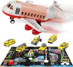 Transport Construction Vehicles Aircraft Toys - Storage Transport Airplane with 6 Diecast Trucks and Playmat