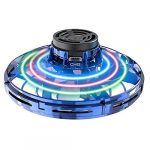 Abree Flying Toys for Adults & Kids USB Charging Hand Operated Mini UFO Drone Spinner with 360° Rotating and Shinning RGB LED Lights (Blue)
