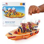 PLAYPRESS RNLI Childrens Toy Lifeboat Playset. This Eco Friendly Kids Toy Playset Contains 2 Toy RNLI Volunteers and RNLI Toy Boat
