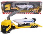 Toyland® Scania Flatbed Hauler Transporter Truck With Power Boat - 1:48 Scale - Diecast - Free Wheel