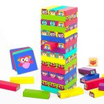 woody treasures Tumbling Tower Kids Games - Toy for Kids Ages 3-9 Year Old – Fun Colourful Building Blocks with Animals – Toddler Educational Toys for Cognitive and Fine Motor Skills
