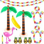 Aodaer 17 Pieces Inflatable Luau Party Set Inflatable Palm Trees Flamingo Banana Toys Pineapple Sunglasses and Hawaiian Lei Flower Garlands Crown Wristband Garlands Banners for Hawaiian Summer Party