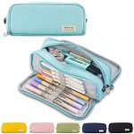 Pencil Case Teenager Girls Pencil Case 3 Compartments Boys Large Capacity Pencil Case for School & Office (Blue)