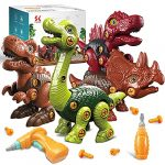 Take Apart Dinosaur Toys 4 Pack for 3-8 Year Old Boys Girls Building Toys Set with Electric Drill Construction Engineering Play Kit for Kids Construction STEM Learning Toys Birthday Easter Gifts