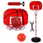 STOBOK Basketball Backboard and Hoop Set Free Standing Basketball Set Indoor Outdoor Sports Ball Toy 150cm Red