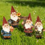 VAINECHAY Outdoor Garden Gnome Ornaments Funny Large Garden Gnomes Statues Ornament for Patio Lawn Home Yard Decorations (Pack of 4pcs)