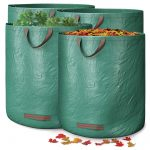 GardenGloss® Garden Waste Bags with Handles (4 pcs) - 272L High Capacity Garden Bag with Double Bottom - UV Stable and Water Repellent - Reusable