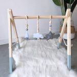 HB.YE Baby Wooden Play Gym with 3PC Pendant Toys Handmade Wooden Foldable Frame + 3PC Teethers Newborn Rattle Rings Sensory Toy Activity Gift (Grey Frame)