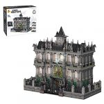 Leic Arkham Asylum Breakout Model 7537Pcs MOC Horror Street View Architecture Building Block Toys with Lights Compatible with Lego 10937