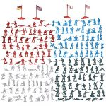 200-Piece Military Figures Set - Toy Army Soldiers in 4 Colours World War II Playset with 4 Flags